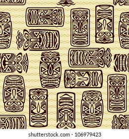 Seamless Pattern With Tiki mask