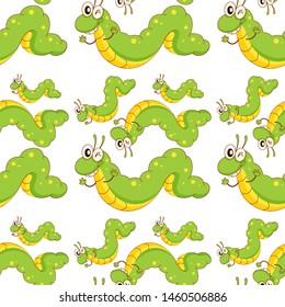 Seamless pattern tile cartoon with caterpillar illustration