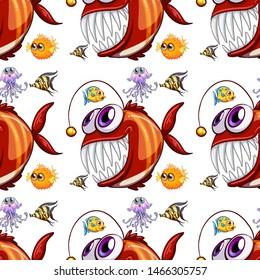 Seamless pattern tile cartoon with fish illustration