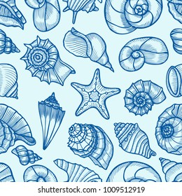 Seamless pattern tile wallpaper of Hand drawn Collection of seashells in line art style on blue background. Ocean seamless vector pattern. Coloring book page design for adults and kids.