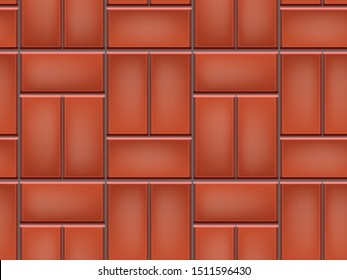 Seamless pattern of tiled cobblestone pavement. Geometric mosaic street tiles. Red color. Single Basketweave paver block of paving slabs. Editable Vector Illustration
