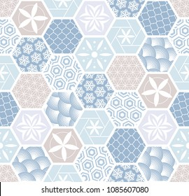 Seamless pattern for tiles in the bathroom. Drawing for home textiles. Pattern made of hexagons.