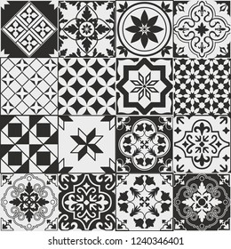 Seamless pattern of tiles. Vintage decorative design elements. Islam, Arabic, Indian, ottoman handdrawn motifs. Perfect for printing on fabric or paper. Brown and black colors