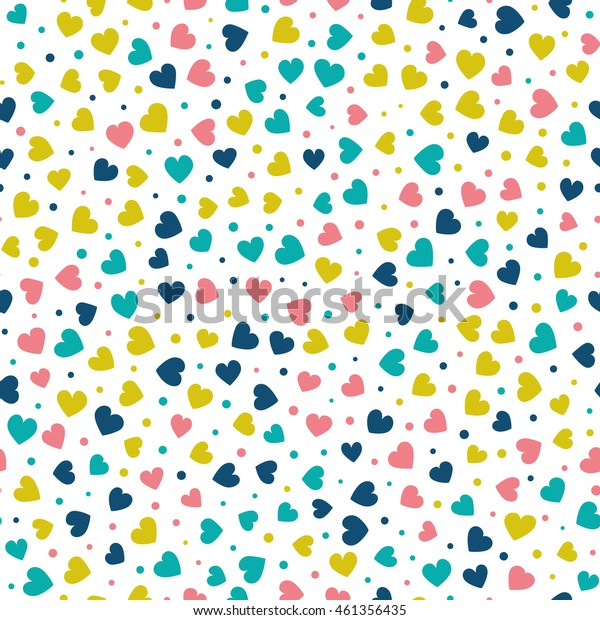 Seamless pattern with tiny hearts and dots of fresh colors on a white background. Vector repeating texture.