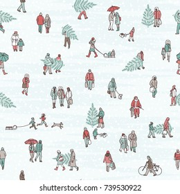Seamless pattern of tiny pedestrians walking in winter through the city: small people wearing warm winter coats and carrying Christmas trees