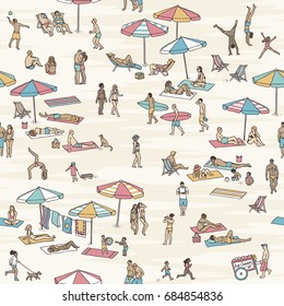 Seamless pattern of tiny people at the beach: a diverse collection of small hand drawn men, women and children playing, walking and sunbathing at the beach