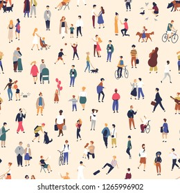 Seamless pattern with tiny people walking on street. Backdrop with men, women and children performing outdoor activity. Colorful vector illustration in flat cartoon style for wallpaper, fabric print.