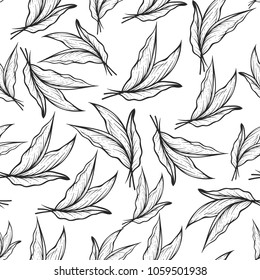 Seamless pattern with Tobacco leaves in hand drawing, engraving, vintage style. Vector illustration on white background