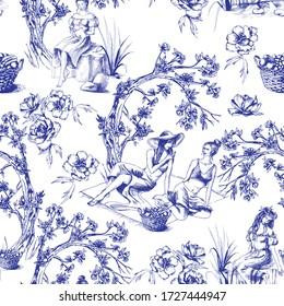 Nahtloses Muster im Toilstil. Unterschiedliche handgezeichnete Kompositionen mit Frauen. Vektor-Abbildung