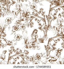 Seamless pattern in toile de jouy style in brown color. Different hand drawn compositions with women. Texture for ceramic tile, wallpapers, wrapping gifts, web page backgrounds. Vector illustration