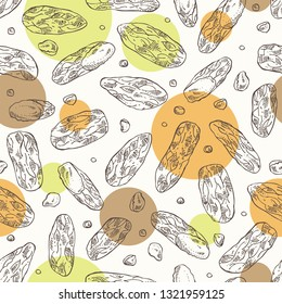Seamless pattern with tonka beans: tonka fruit, beans and leaves. Dipteryx odorata. Cosmetic, perfumery and medical plant. Vector hand drawn illustration