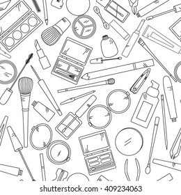 Seamless pattern with tools for makeup in black and white colors. Vector collection for beauty design.