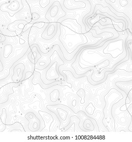 Seamless pattern. Topographic map background with space for copy Seamless texture. Line topography map contour background , geographic grid . Mountain hiking trail over terrain .