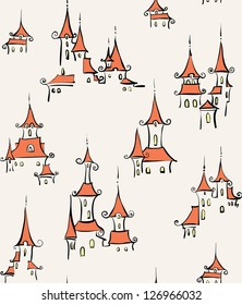 Seamless pattern with town