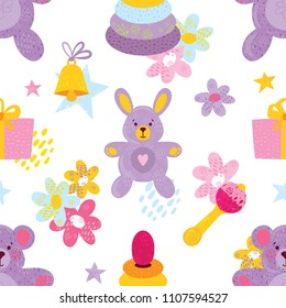 Seamless pattern with toy bunny, bear, bell, present box, pyramid, rattle, stars and flowers for baby birhtday design