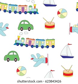 Seamless pattern with toys for the boy. A vector picture with plane, a drum, train, the car, a ball on a white background