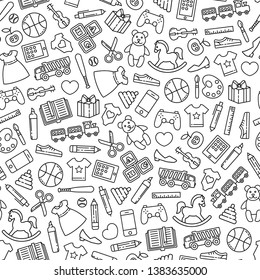 Seamless pattern with toys design elements. Different black outline icons on white background.