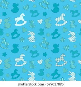 Seamless pattern with toys - horse, rabbit, duck, heart, star. Newborn boy blue color background. Design for baby shower, card, invitation, etc.