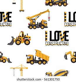 Seamless pattern with tractor backhoe loader, bulldozer, concrete hauler, dumper truck, truck crane, tower crane, i love constructing inscription. Inspired by building machinery.