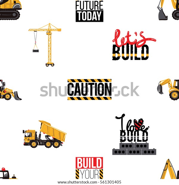Seamless Pattern Tractor Backhoe Loader Dumper Stock Vector