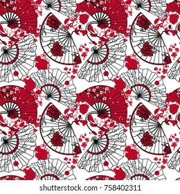 seamless pattern with  traditional asian hand paper fans with beautiful ornaments and sakura flowers, red and white colors, vector illustration