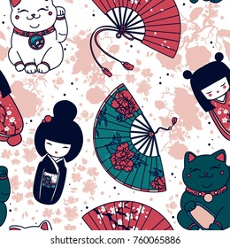 Seamless pattern with  traditional asian souvenirs: hand paper fans, kokeshi dolls, maneki neko and sakura flowers, vector illustration
