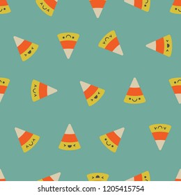 Seamless pattern with the traditional Halloween treat. Candy corn with sweet faces. Fully customizable, easily change colors to match your design. Add some color to your halloween party.