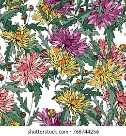 Seamless pattern with traditional homeplant Chrysanthemum. Endless texture with flower used indoor.