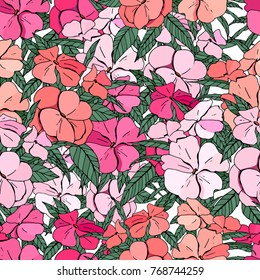 Seamless pattern with traditional homeplant Impatiens. Endless texture with flower used indoor.