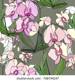 Seamless pattern with traditional homeplant Phalaenopsis. Endless texture with flower used indoor.