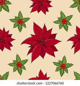 Seamless pattern with traditional homeplant poinsettia and holly plant. Endless texture with flower used indoor. Vector color illustration.