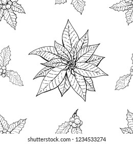 Seamless pattern with traditional homeplant poinsettia and holly plant. Endless texture with flower used indoor. Vector monochrome illustration.