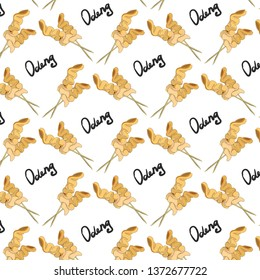 Seamless pattern with traditional Korean dish odeng. Korean street food. Asian cuisine. Fish cake oden. Lettering.