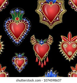 Seamless pattern with traditional Mexican hearts  patches embroidered sequins, beads and pearls. Vector illustration
