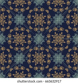 Seamless pattern. Traditional ornate  decorative tiles . Abstract background. Vector hand drawn illustration