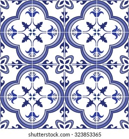 Seamless pattern. Traditional ornate portuguese tiles azulejos. Abstract background. Vector illustration, eps, added to swatch palette.