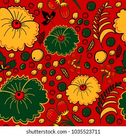 Seamless pattern in traditional Russian style with flowers and berries. Vector illustration.