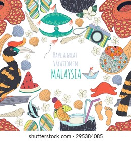 Seamless pattern of traditional things in Malaysia:Malaysian food,traditional kite,set of different travel,vacation holiday,summer things,nature of Borneo, with text.Malaysia background.Summer pattren