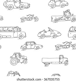 Seamless pattern Transport Sketch Set