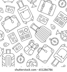 Seamless pattern travel or business trip. Vector illustration.