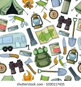 Seamless pattern of travel equipment. Accessories for camping and camps. Colorful sketch cartoon illustration of camping and tourism equipment. Vector