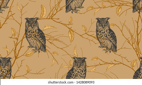 Seamless pattern with tree branches and forest birds owls. Vector illustration art. Natural design for textiles, paper, wallpapers. Print of gold foil.