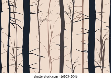 Seamless pattern with tree trunks without leaves. Lifeless forest silhouettes. Early spring / late autumn background. Vector graphic design.