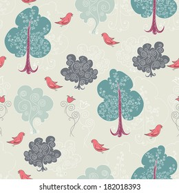 seamless pattern with the trees and birds