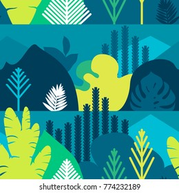 Seamless pattern. Trees are broad-leaved tropical, ferns. Mountain landscape. Flat style. Preservation of the environment, forests. Park, outdoor. Vector illustration.