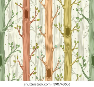 Seamless pattern with trees, fresh spring forest