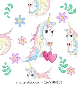 Seamless pattern with trendy cartoon patches. Unicorns, rainbows and hearts