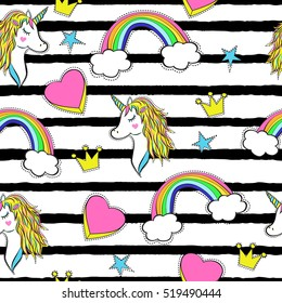 Seamless pattern with trendy cartoon patches. Unicorns, rainbows and hearts. Retro fashion background with elements in 90s style.