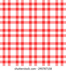 Seamless pattern with trendy stylish cell Gingham, Red and white