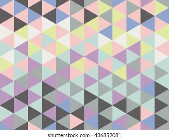 Seamless pattern with triangles with cool and warm pastel colors. Colors of trendy palettes 2016